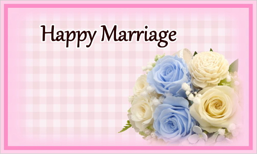 ブルーのバラのカード・Happy Marriage