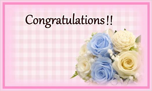 ブルーのバラのカード・congratulations