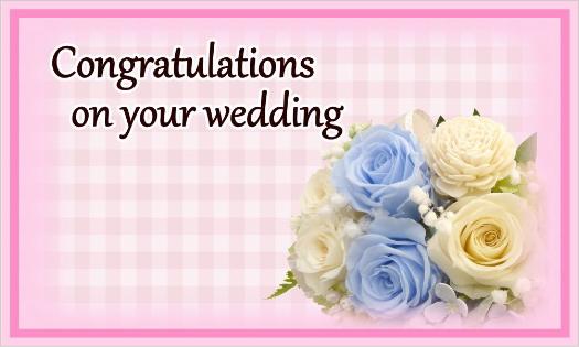 ブルーのバラのカード・Congratulations on your wedding