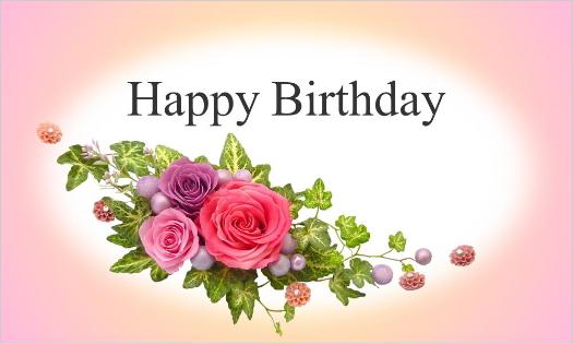 3色のバラのカード・Happy Birthday