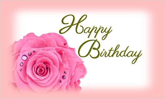 大きなピンクのバラ・Happy Birthday