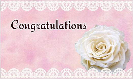 白いバラとレースのカード・congratulations