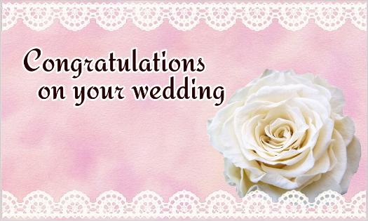 白いバラとレースのカード・Congratulations on your wedding