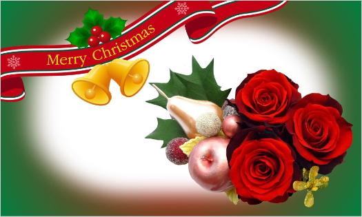 赤バラのクリスマスカード・リボンとベルのMerry Christmas