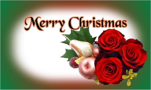 赤バラのクリスマスカード・Merry Christmas
