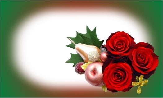 赤バラのクリスマスカード・文字なし