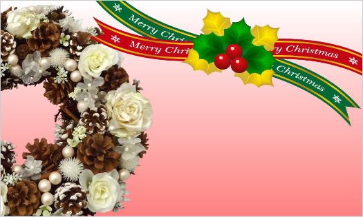 クリスマスカード・リースとリボンのMerry Christmas