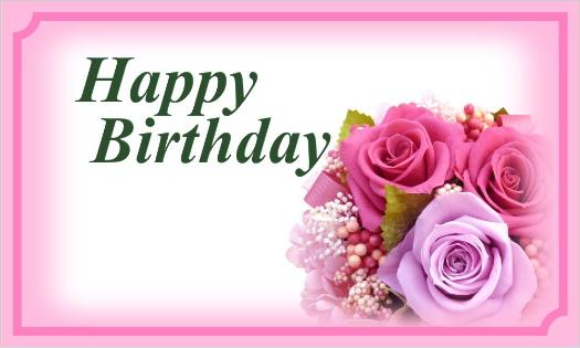 ピンクのバラのカード・Happy Birthday